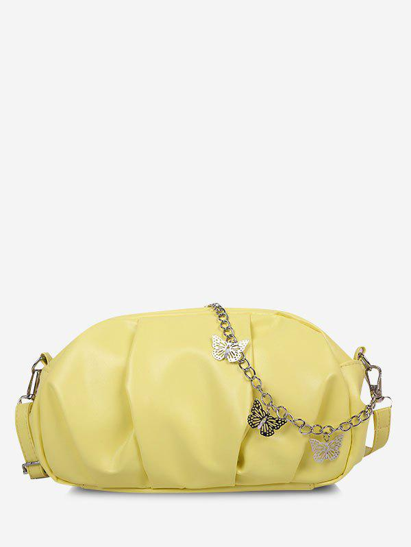 Hot Double Strap Butterfly Detail Ruched Crossbody Bag