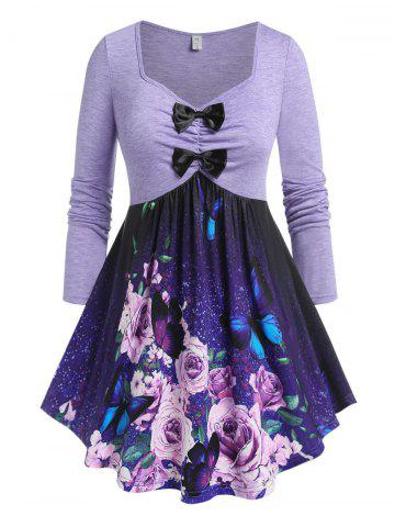 Plus Size Flower Butterfly Bowknot Draped Skirted Tee - PURPLE - 1X