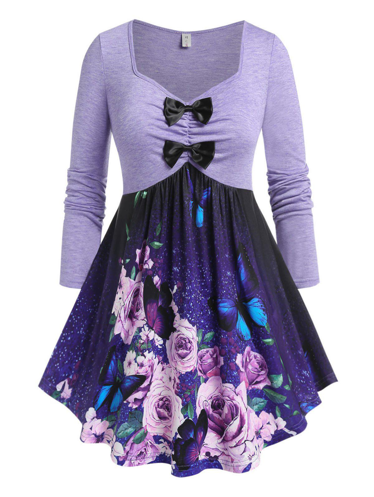 Shop Plus Size Flower Butterfly Bowknot Draped Skirted Tee