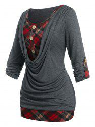 Plus Size Roll Up Sleeve Cowl Front Plaid Twofer Tee -