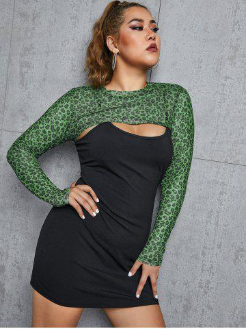 Plus Size Leopard Mesh Shrug Top and Ribbed Dress Set