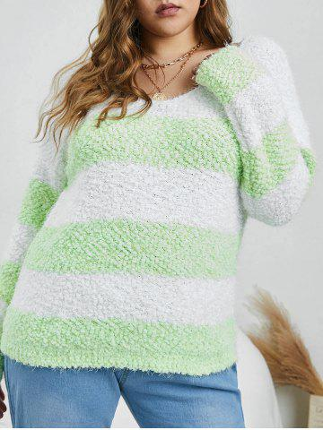 Plus Size Fuzzy Colorblock Striped Boucle Sweater - GREEN - 3XL