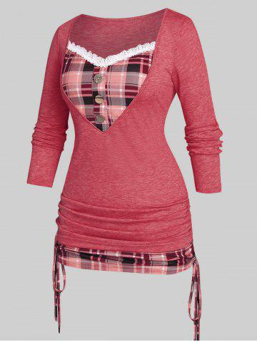 Plus Size Cinched Plaid 2 in 1 T-shirt - RED - 2X