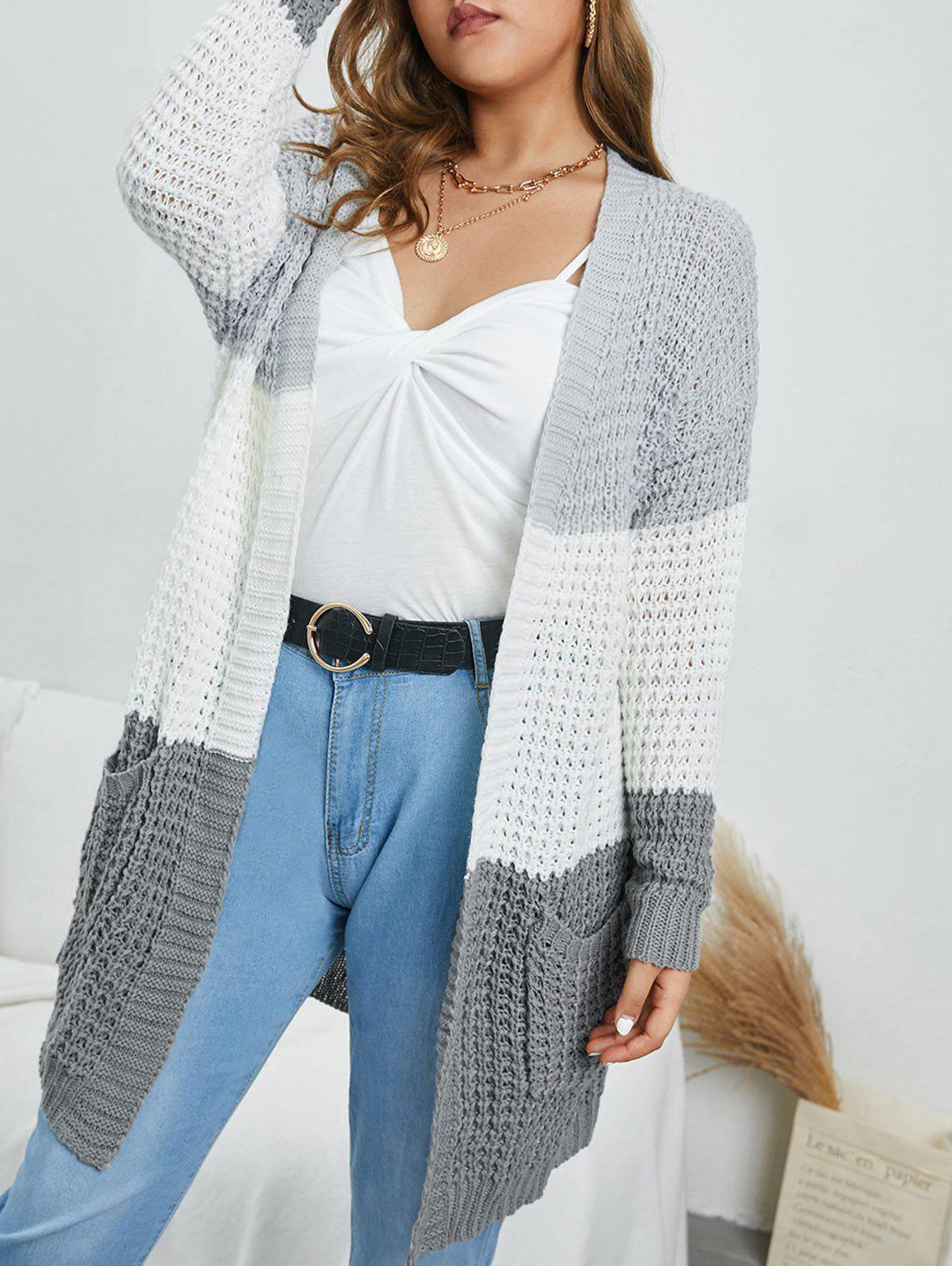 Affordable Plus Size Colorblock Chunky Open Front Cardigan
