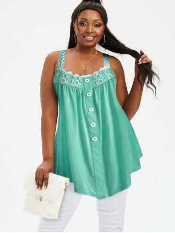 Plus Size Tunic Contrast Square Collar Tank Top - MACAW BLUE GREEN - M