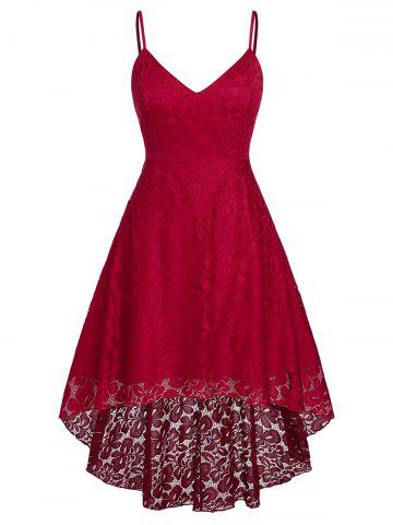 Plus Size High Low Lace Midi Cocktail Dress - RED - 1X