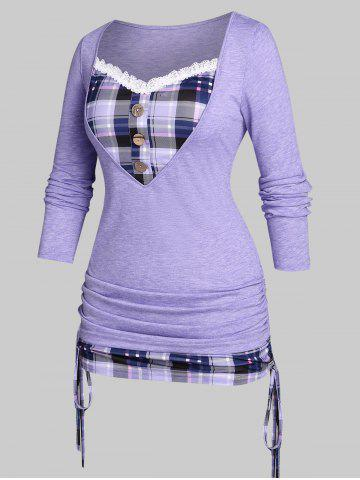 Plus Size Cinched Plaid 2 in 1 T-shirt - PURPLE - 1X