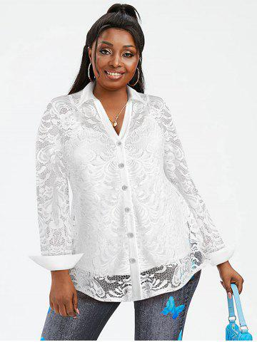 Plus Size Lace Flower Sheer Blouse with Cami Top Set - WHITE - 3X