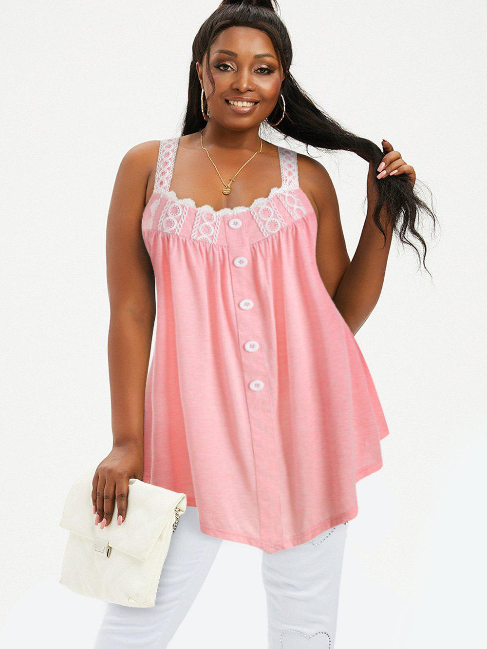 Discount Plus Size Tunic Contrast Square Collar Tank Top