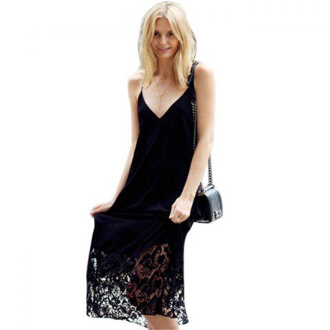 Outfit Stylish Spaghetti Srap Backless Lacework Design Women Sundress - M BLACK Mobile