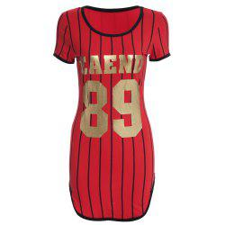 Active Scoop Collar Short Sleeve Print Skinny Women Baseball Dress