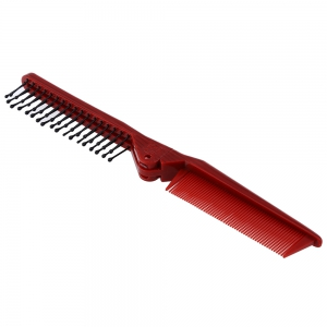 Salon Anti-static Combing Foldable Pocket Double Hair Brush Travel Essential - GOLD BROWN