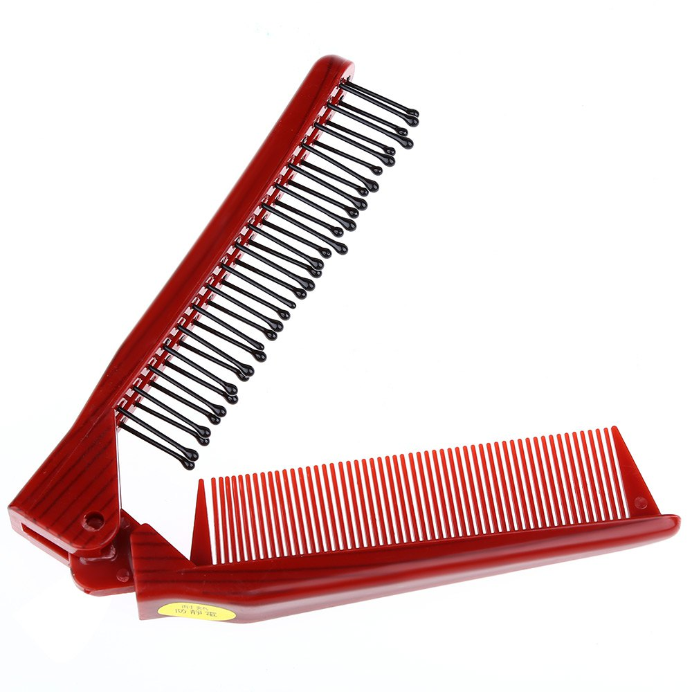 Salon Anti-static Combing Foldable Pocket Double Hair Brush Travel EssentialBEAUTY<br><br>Color: GOLD BROWN; Item Type: Combs; Materials: Silicone; Product weight: 0.021 kg; Package weight: 0.031 kg; Product Size(L x W x H): 21.50 x 2.60 x 1.00 cm / 8.46 x 1.02 x 0.39 inches; Package Size(L x W x H): 21.50 x 3.00 x 1.30 cm / 8.46 x 1.18 x 0.51 inches; Package Content: 1 x Comb;