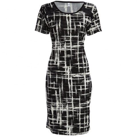 Hot Trendy Scoop Collar Short Sleeve Printed Sheathy Women Dress BLACK M