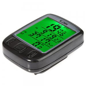 SunDing SD - 563B Leisure Bicycle Computer Water Resistant Cycling Odometer Speedometer with Green Backlight -