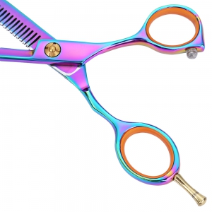 2pcs 5.5 inch 440c Titanium Hairdressing Scissors Shears Kit Barber Thinning Hair Cutting Set - COLORFUL