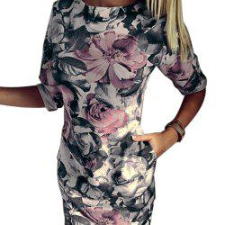 Fashionable Round Collar Short Sleeve Floral Print Sheath Women Mini Dress -
