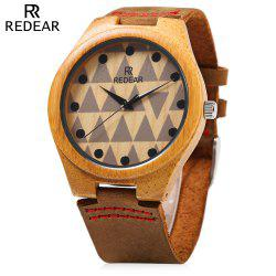 REDEAR SJ 1448 - 7 Wooden Male Quartz Watch Special Pattern Dial Leather Strap Wristwatch -