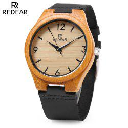 REDEAR SJ 1448 - 8 Wooden Male Quartz Watch Leather Strap Wristwatch -