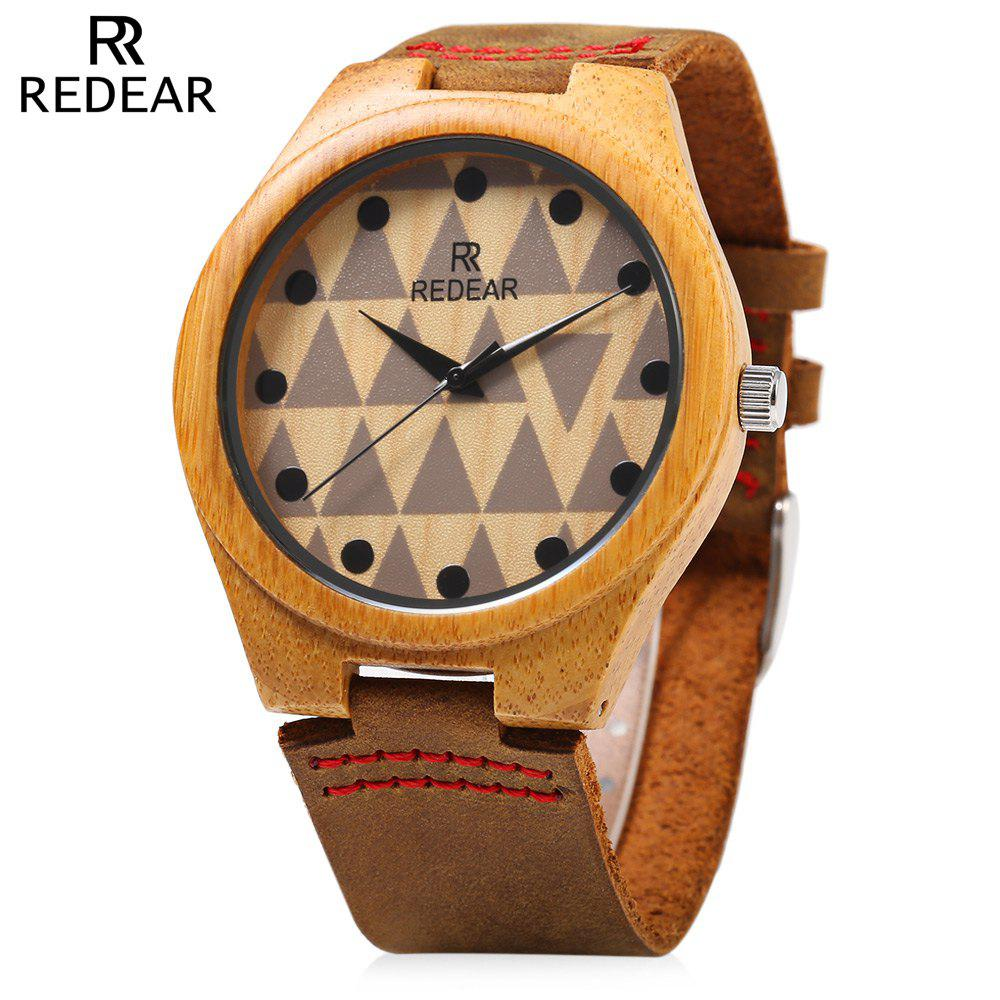 Fancy REDEAR SJ 1448 - 7 Wooden Male Quartz Watch Special Pattern Dial Leather Strap Wristwatch