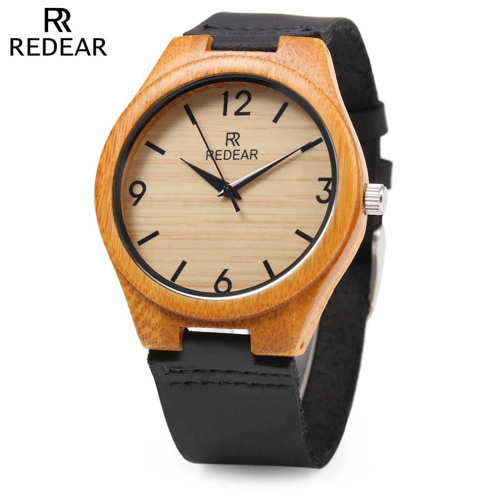 Trendy REDEAR SJ 1448 - 8 Wooden Male Quartz Watch Leather Strap Wristwatch