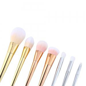 7pcs Synthetic Hair Silver Tube Makeup Brush Set - COLORMIX