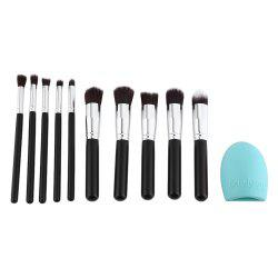 10pcs Wooden Handle Silver Tube Makeup Brush Set with One Makeup Brush Cleaner -
