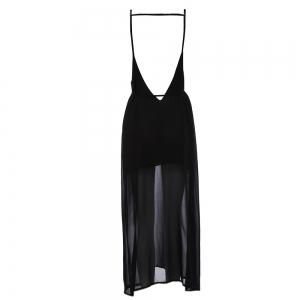 Sexy Suspender Plunging Neck Backless Hollow Out Liner with Belt Side Slit Pure Color Ankle-length Women Chiffon Dress -