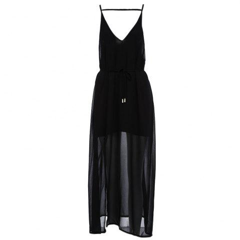Sale Sexy Suspender Plunging Neck Backless Hollow Out Liner with Belt Side Slit Pure Color Ankle-length Women Chiffon Dress