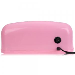9W High Automatic Light Phototherapy Slide Type LED + UV Manicure Nail Art Power Lamp - PINK EU PLUG