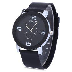 XINEW 1655 Men Quartz Watch Rubber Band Simple Style Wristwatch