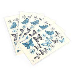 5pcs Temporary Tattoo Water Stickers Flower Cats English Metal Pattern Body Art -