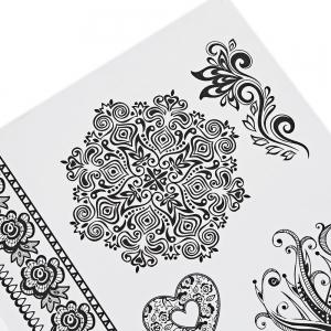 Black Tattoo Sticker Temporary Flower Lace Metal Pattern Body Art -