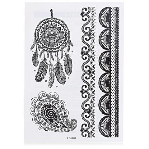 Sale Black Tattoo Sticker Temporary Flower Lace Metal Pattern Body Art