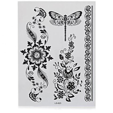 Discount Black Tattoo Sticker Temporary Flower Lace Metal Pattern Body Art
