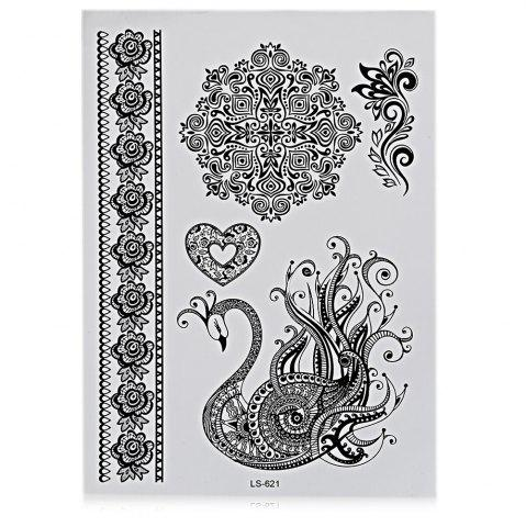 Outfits Black Tattoo Sticker Temporary Flower Lace Metal Pattern Body Art - #10  Mobile