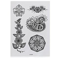 Black Tattoo Sticker Temporary Flower Lace Metal Pattern Body Art