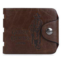 Men Figure Pattern Letter Embellishment Hollow Out Hasp Horizontal Wallet