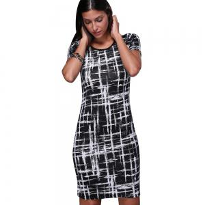 Trendy Scoop Collar Short Sleeve Printed Sheathy Women Dress - BLACK M