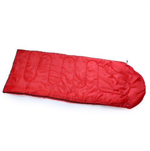 Trendy Outdoor Camping Envelope Style Hooded Thin Hollow Cotton Sleeping Bag - RED  Mobile