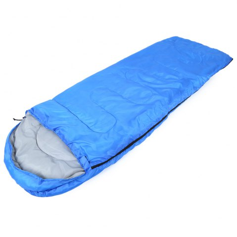Trendy Outdoor Camping Envelope Style Hooded Thin Hollow Cotton Sleeping Bag - SAPPHIRE BLUE  Mobile
