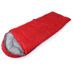 Outdoor Camping Envelope Style Hooded Thin Hollow Cotton Sleeping Bag - RED