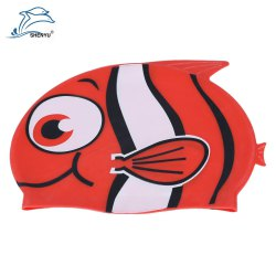 Shenyu Cute Children Cartoon Fish Shark Water-resistant Silicone Swimming Cap
