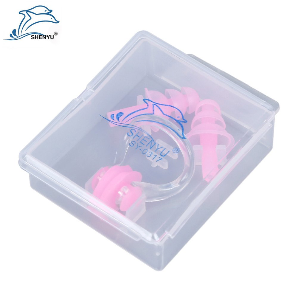 Fashion Shenyu Soft Silicone Swimming Nose Clips Two Ear Plugs Gear with Case Box