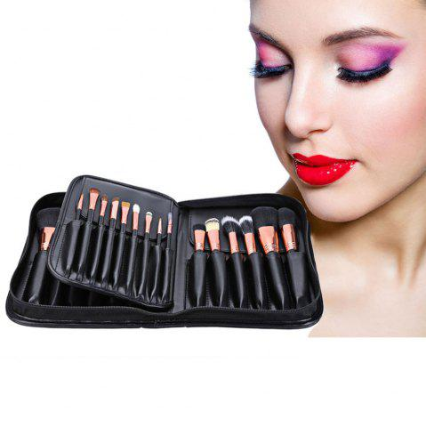 Shop 29pcs Animal Hair Professional Cosmetic Makeup Brushes Tool Set with Black Leather Cosmetic Case