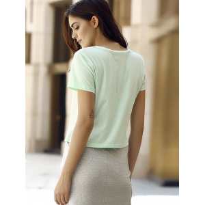 Simple Style Round Collar Short Sleeeve Cotton Blend Pure Color Women T-Shirt -