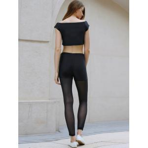 Active Slash Collar Short Sleeve Crop Top + Elastic Waist See-Through Spliced Leggings Women Twinset - BLACK XL