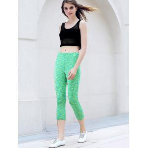 Active U-Neck Stripes See-Through Tank Top + Elastic Waist Capri Leggings Women Twinset -