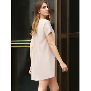 Casual Scoop Collar Short Sleeve Front Pocket Asymmetrical Solid Color Women T-Shirt Dress -