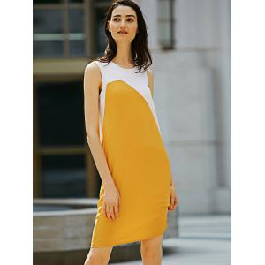 Casual Round Collar Sleeveless Color Block Straight Women Dress -
